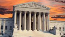 Supreme Court building at sunrise